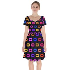 Pattern Background Structure Black Short Sleeve Bardot Dress by Pakrebo