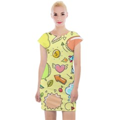 Cute Sketch Child Graphic Funny Cap Sleeve Bodycon Dress by Pakrebo