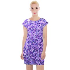 Purple Triangle Background Cap Sleeve Bodycon Dress by Jojostore
