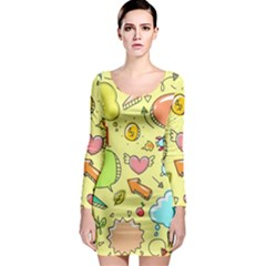 Cute Sketch Child Graphic Funny Long Sleeve Bodycon Dress