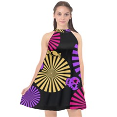 Seamless Halloween Day Of The Dead Halter Neckline Chiffon Dress  by Pakrebo