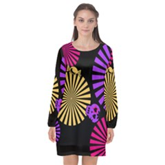 Seamless Halloween Day Of The Dead Long Sleeve Chiffon Shift Dress