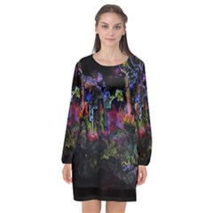 Grunge Paint Splatter Splash Ink Long Sleeve Chiffon Shift Dress