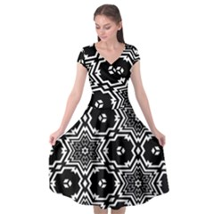 Black And White Pattern Background Structure Cap Sleeve Wrap Front Dress by Pakrebo