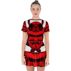 Oni Warrior Samurai Graphics Drop Hem Mini Chiffon Dress