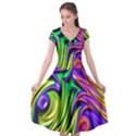 Fractal Mandelbrot Art Wallpaper Cap Sleeve Wrap Front Dress View1