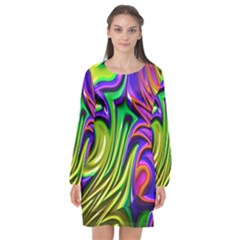 Fractal Mandelbrot Art Wallpaper Long Sleeve Chiffon Shift Dress