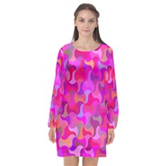 Mosaic Cute Long Sleeve Chiffon Shift Dress