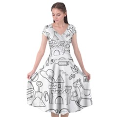 Baby Hand Sketch Drawn Toy Doodle Cap Sleeve Wrap Front Dress