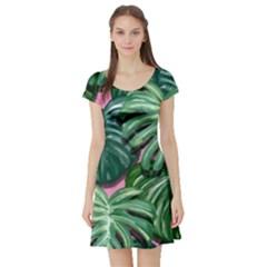 Painting Leaves Tropical Jungle Short Sleeve Skater Dress