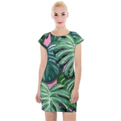 Painting Leaves Tropical Jungle Cap Sleeve Bodycon Dress