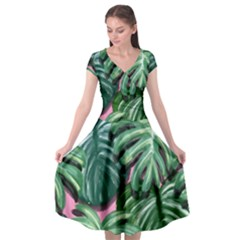 Painting Leaves Tropical Jungle Cap Sleeve Wrap Front Dress