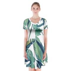 Plants Leaves Tropical Nature Short Sleeve V Neck Flare Dress by Alisyart