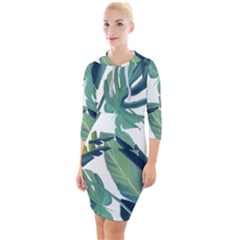 Plants Leaves Tropical Nature Quarter Sleeve Hood Bodycon Dress by Alisyart