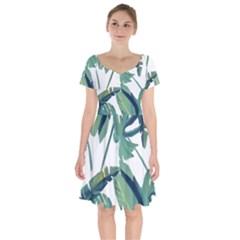 Plants Leaves Tropical Nature Short Sleeve Bardot Dress
