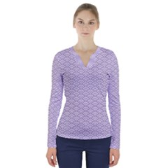 Circly Waves  V Neck Long Sleeve Top by TimelessFashion