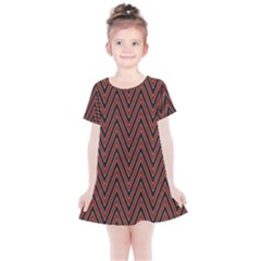 Pattern Chevron Black Red Kids  Simple Cotton Dress by Alisyart