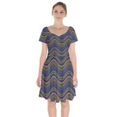 Ornamental Line Abstract Short Sleeve Bardot Dress