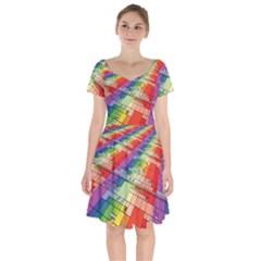 Perspective Background Color Short Sleeve Bardot Dress by Alisyart