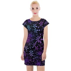 Retro Flower Pattern Fllower Cap Sleeve Bodycon Dress