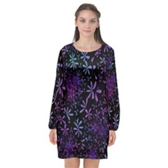 Retro Flower Pattern Fllower Long Sleeve Chiffon Shift Dress  by Alisyart
