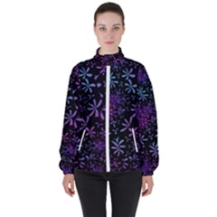 Retro Flower Pattern Fllower High Neck Windbreaker (women) by Alisyart