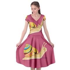 Snail Color Nature Animal Cap Sleeve Wrap Front Dress