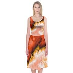 Winter Fractal 6 Midi Sleeveless Dress