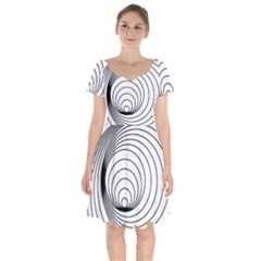 Spiral Line Short Sleeve Bardot Dress by Jojostore