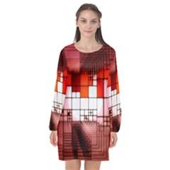 Pattern Structure Light Patterns Long Sleeve Chiffon Shift Dress  by Pakrebo