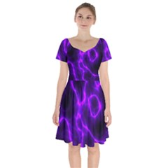 Purple Pattern Background Structure Short Sleeve Bardot Dress