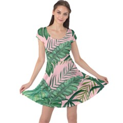 Tropical Greens Leaves Cap Sleeve Dress