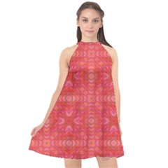 Triangle Mosaic Red Pattern Mirror Halter Neckline Chiffon Dress