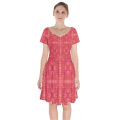 Triangle Mosaic Red Pattern Mirror Short Sleeve Bardot Dress