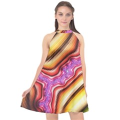 Fractal Mandelbrot Art Wallpaper Halter Neckline Chiffon Dress