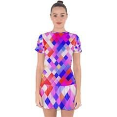 Squares Pattern Geometric Seamless Drop Hem Mini Chiffon Dress by Jojostore
