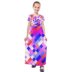 Squares Pattern Geometric Seamless Kids  Short Sleeve Maxi Dress by Jojostore