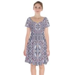 Triangle Pattern Kaleidoscope Short Sleeve Bardot Dress by Jojostore