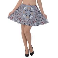 Triangle Pattern Kaleidoscope Velvet Skater Skirt