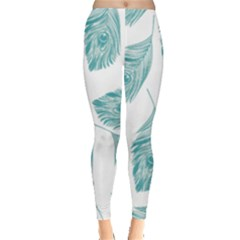 Peacock Feather Background Leggings  by AnjaniArt