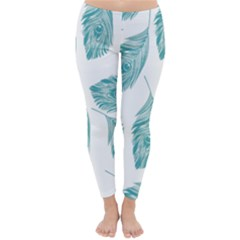Peacock Feather Background Classic Winter Leggings by AnjaniArt