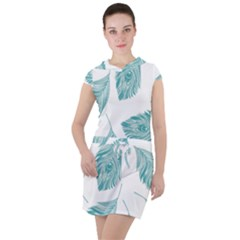 Peacock Feather Background Drawstring Hooded Dress by AnjaniArt