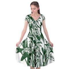 Plant Tropical Leaf Colocasia Cap Sleeve Wrap Front Dress