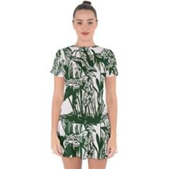 Plant Tropical Leaf Colocasia Drop Hem Mini Chiffon Dress