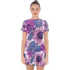 Fabric Flowers Floral Design Drop Hem Mini Chiffon Dress