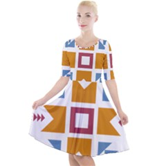 Star Flag Unique Quarter Sleeve A Line Dress