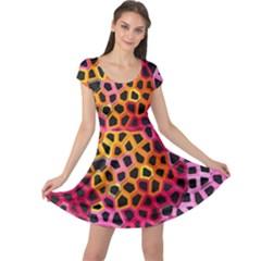 Mosaic Structure Pattern Background Cap Sleeve Dress by Pakrebo