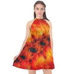 Red Fractal Mandelbrot Art Wallpaper Halter Neckline Chiffon Dress