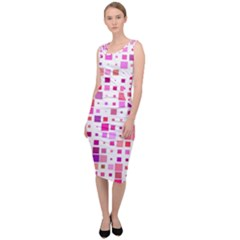 Square Pattern Colorful Sleeveless Pencil Dress by AnjaniArt