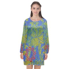 Paint Concrete Old Rough Textured Long Sleeve Chiffon Shift Dress  by Pakrebo